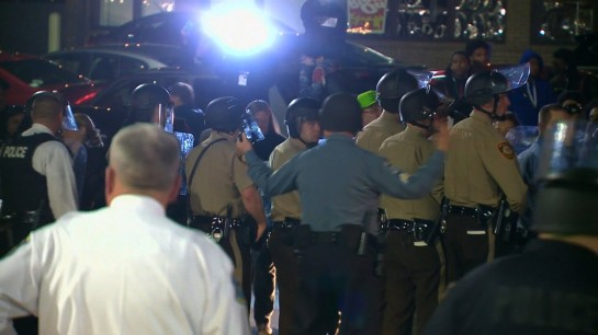 **Embargo: St. Louis, MO**Police from various departments face off with protesters in Ferguson, Missouri on the night of March 11, 2015 following the resignation of Ferguson Police Chief Thomas Jackson earlier in the day.
