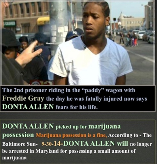 Donta Allen shared Freddie Gray's last ride inside a paddy-wagon arrested for weed which is not an arrestable offense in Baltimore