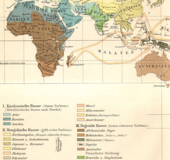 German 1932 ethnographic map portraying Hamitic as a subdivision of the Caucasian race (Meyers Blitz-Lexikon).