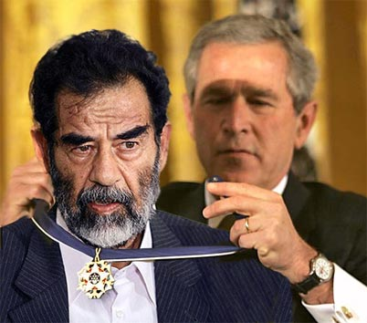 """Some are born to greatness. Others achieve greatness. Still others have greatness thrust upon them. Saddam Hussein is one of those people,"" said Bush prior to presenting Saddam Hussein with the medal."
