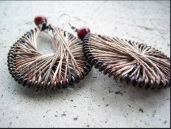 peruvian style earrings made with hemp and wooden beads