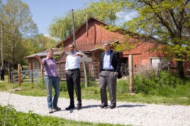 President Barack Obama tours MogoOrganic in Mt. Pleasant, Ia., with with Secretary of Agriculture Tom Vilsack and Morgan Honnig, April 27, 2010.. (Official White House Photo by Lawrence Jackson)